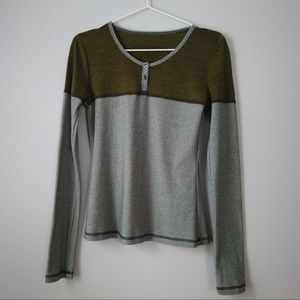 Prana Solid Striped Long Sleeve Henley Tee Size S